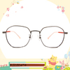 Disney花現春天│逗趣小奇蒂 多邊框眼鏡✿鐵灰/活力橘