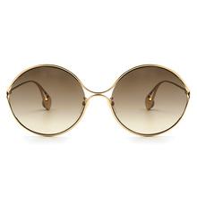 GUCCI 2018春夏新款 設計師金色珠徽廣告款-金屬圓框✦濃情棕