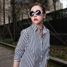 HORIEN 海豚灣的戀人波浪款 時尚黑白 (HN1222-L01-55)