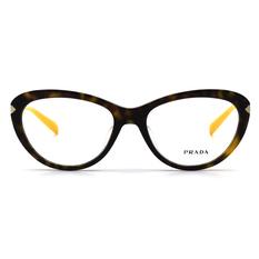 PRADA 黄色時尚雅痞風貓眼框 釉彩棕 (PR08RVF-2AU1O1-54)