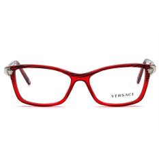 VERSACE 美杜莎魔髮條紋眉形框 魔黑紅 (VE3156-935-53)
