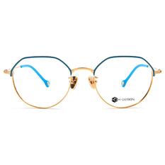 K-DESIGN K-POP款 半圓多角眉型框-脆果藍/金