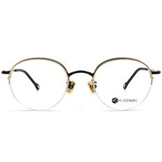 K-DESIGN K-POP系列 半眉復古圓框-亮黑金