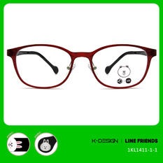 K-DESIGN | LINE FRIENDS◆圓扁框-透紅/兔兔黑(兔兔銀鑄)