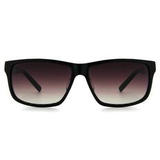 MINI 偏光太陽眼鏡 方格雙質方框│亮黑/削銀