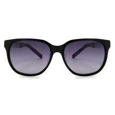 MINI 偏光太陽眼鏡 金屬線條切角橢圓框│亮黑/銀