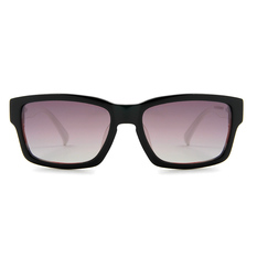 MINI 偏光太陽眼鏡 粗框英國旗長方框│黑/白