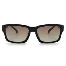 MINI 偏光太陽眼鏡 粗框方格長方框│黑間白