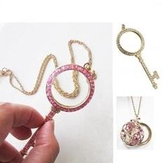 項鍊放大鏡 鑰匙/水晶玫瑰款