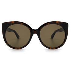 GUCCI 2018春夏新款 復古經典標誌俐落寬版貓眼框✦黯夜咖