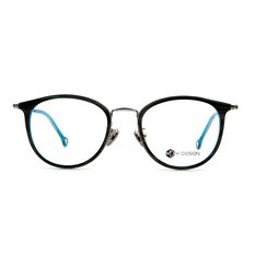 K-DESIGN K PLUS舒適彈力款◆韓風貓型魅惑精緻雙圈框 湖翡藍