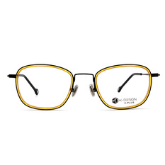 K-DESIGN K 舒適輕盈系列  ▏浪漫今生雙環方圓框 蜂黃黑