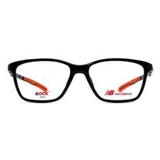 New Balance ELOCK 博雅質感方框眼鏡✦時尚黑/亮橘