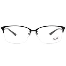 Ray Ban 雷朋│簡約裸框 長方眉框眼鏡 灰鏡黑