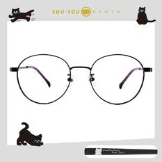 SOU・SOU l 玩耍的貓 波士頓框眼鏡✿煙紫黑