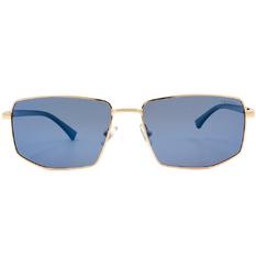 HORIEN 時尚金線長方寬墨鏡 深海藍