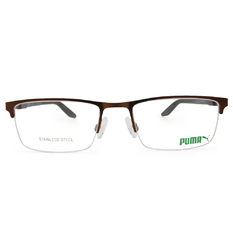 PUMA l 熱情學院 長方半框眼鏡 l 仿古金