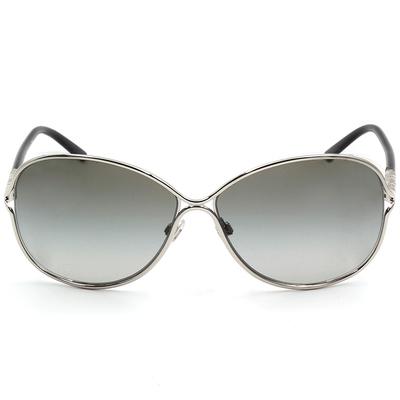 BURBERRY 巨星金屬流線款眼鏡墨鏡  閃耀銀-墨色鏡片(BE3066-100511)