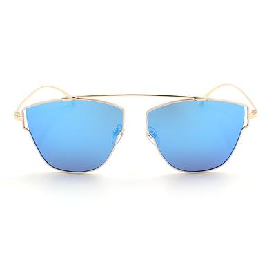 HORIEN 白框墨鏡 藍膜前衛多邊款墨鏡 古銅金/白  (N6329-P20)