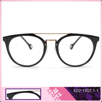 K-Design  17年橫槓唯一款眼鏡 潮簡徽紋貓眼多邊框眼鏡 夜越黑 (KD2-1502-1-1-51)