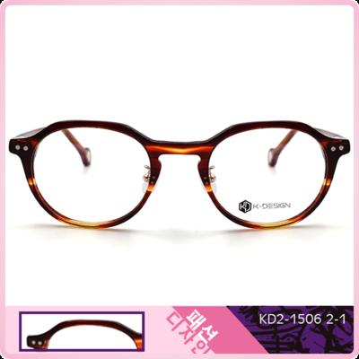 K-Design  17年款眼鏡 韓流設計款-城市幾何多邊框眼鏡 夕海橙 (KD2-1506-2-1-49)