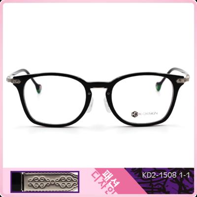 K-Design  17年款眼鏡 韓國框眼鏡型-設計師大韓風眼鏡格徽紋款 騎士黑 (KD2-1508-1-1-51)