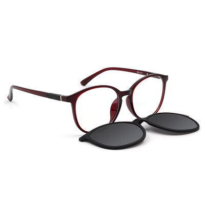 BOLON 經典流行磁吸前掛平光太陽鏡雙用微貓眼框 釀酒紅 (BN3610-32-54)