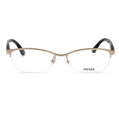 PRADA 魅力鐵三角眉型框眼鏡 琥珀綠 (PR59RV-2AU1O1-54)