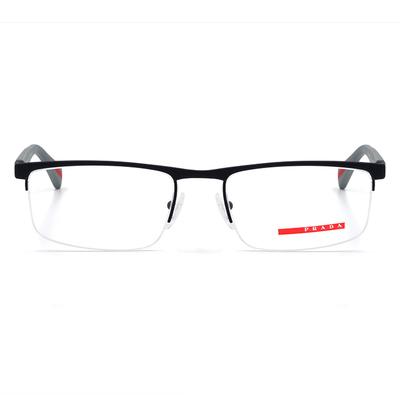 PRADA Linea Rossa 彈力能量學銀眉框眼鏡 赤緞灰 (PS52FV-DG11O1-54)