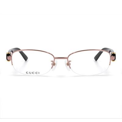 GUCCI 輕式經典馬銜鍊優雅半框眼鏡款眼鏡 玫瑰金範巧克褐 (4270J-OXE-52)