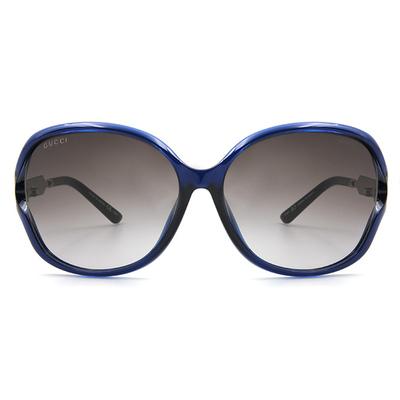 GUCCI 名媛圖騰炫銀框眼鏡墨鏡  ▏透藍/玳瑁棕