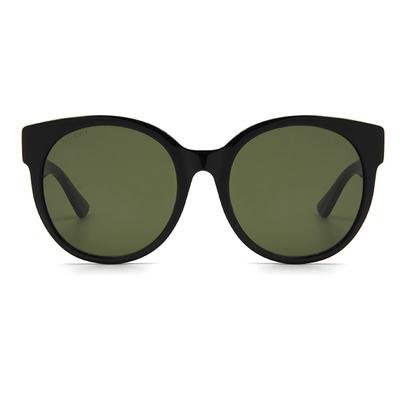 GUCCI 2017秋冬新款墨鏡 晶點蕩漾時尚框墨鏡  ▏亮黑/透綠