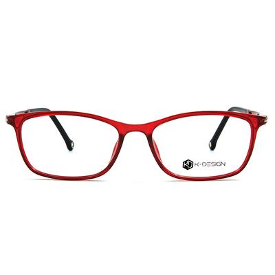 K-DESIGN K-POP系列 透感眼鏡淑女框眼鏡-透紅/亮黑