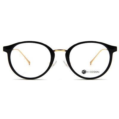 K-DESIGN K-POP系列 城市風眼鏡圓框眼鏡-西裝黑/金
