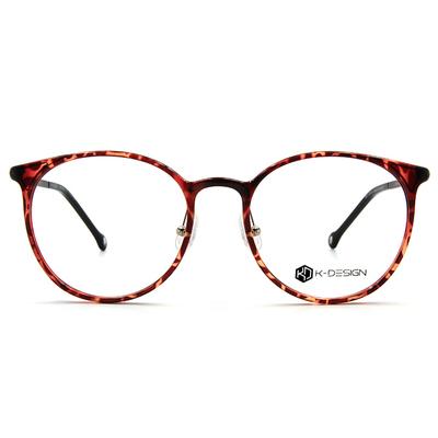 K-DESIGN K-POP系列 古典大圓框眼鏡-透粹紅/黑