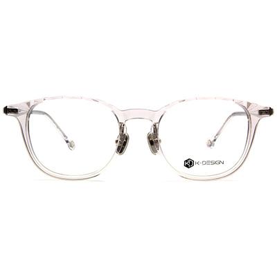K-DESIGN K-POP款眼鏡 菱角威靈頓框眼鏡-透角灰/銀