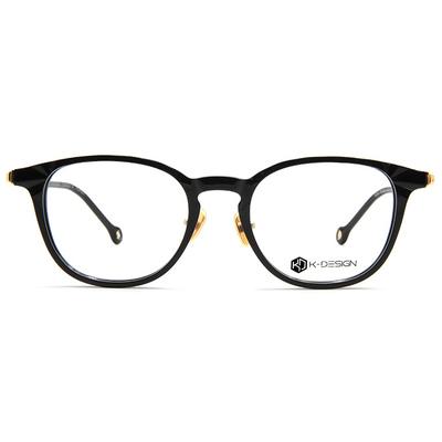 K-DESIGN K-POP款眼鏡 菱角威靈頓框眼鏡-冥角黑/金