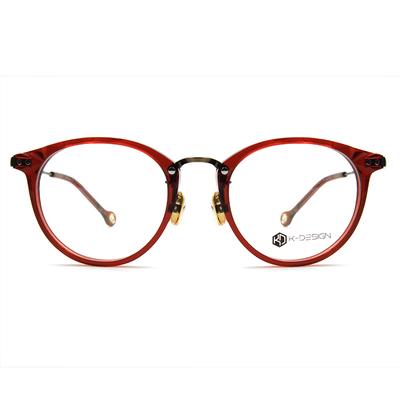 K-DESIGN K-POP系列 菱角幾何波士頓框眼鏡-透紅/削金