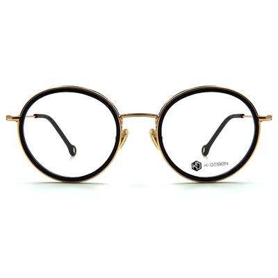 K-DESIGN K-POP系列 雙環復古圓框眼鏡-雙環黑/金