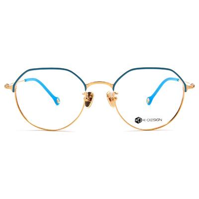 K-DESIGN K-POP款眼鏡 半圓多角眉型框眼鏡-脆果藍/金