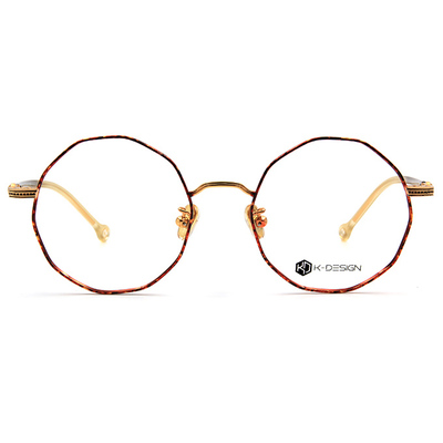 K-DESIGN K-POP系列 復古多角圓框眼鏡-絢光棕/金