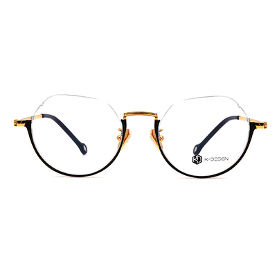 K-DESIGN K-POP系列 奇妙U型半圓框眼鏡-纏繞黑/金