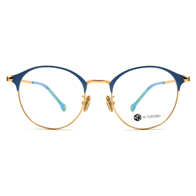 K-DESIGN K-POP系列 青春粉漾眉型框眼鏡-粉晴藍/金