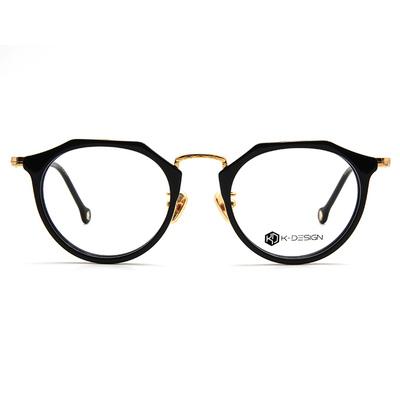 K-DESIGN K-POP系列 多角復古粗框眼鏡-菱角黑/金