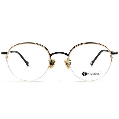 K-DESIGN K-POP系列 半眉復古圓框眼鏡-亮黑金
