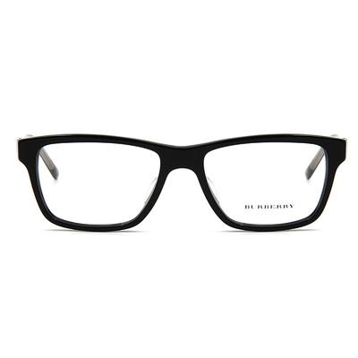 BURBERRY 經典百搭格紋雙色框眼鏡 ▏亮黑/透灰