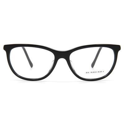 BURBERRY 微貓眼圓柱金旋邊框眼鏡 ▏亮黑/金
