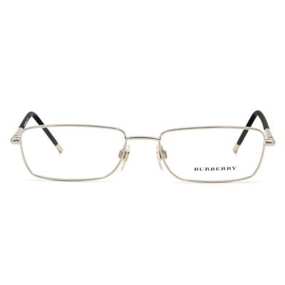 BURBERRY 細緻圓柱雙質框眼鏡 ▏銀/黑