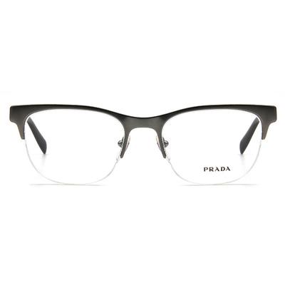PRADA  簡約線條威靈頓眉框眼鏡 ▏深銀/亮黑