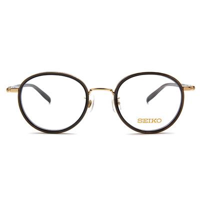 SEIKO 知性の鈦 粉嫩糖霜復古橢圓框眼鏡 ▏金黑
